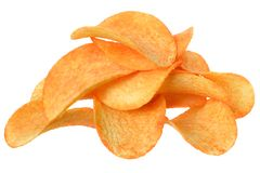 Potato chips with spices. On white background stock photos