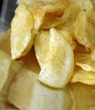Potato Chips in a Stainless Steel Dish Royalty Free Stock Photo