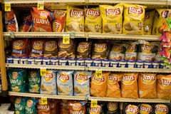 Potato chips in supermarket Royalty Free Stock Photo