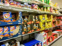 Potato chips in supermarket Stock Photo
