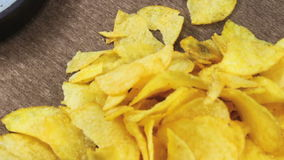 Potato Chips on the Table Rotating stock video footage