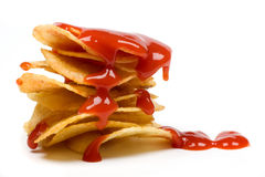 Potato chips with tomato ketchup Stock Photo