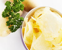 Potato chips from top Stock Images
