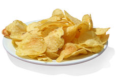 Potato chips w/path. Potato chips isolated with clipping path royalty free stock photography