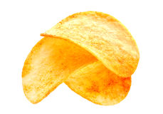 Potato chips on white Royalty Free Stock Images