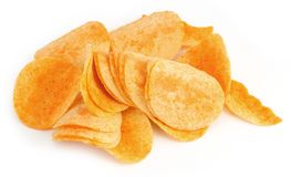 Potato chips on white Royalty Free Stock Photo