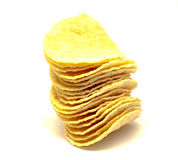 Potato chips on a white background. Stock Photo