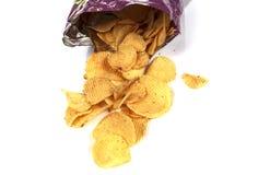Potato chips. On white background Stock Photos