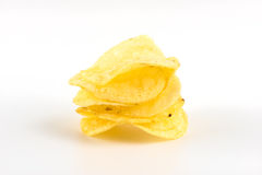 Potato chips on white Royalty Free Stock Photography