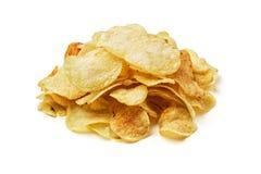 Potato chips. On white background royalty free stock photos
