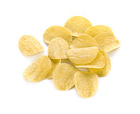 Potato chips on white background. Royalty Free Stock Images