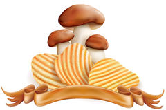 Potato chips and white mushrooms Stock Photo