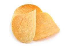 Potato chips on white Stock Photography