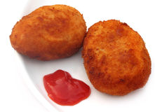 Potato chops with tomato ketchup Stock Image