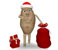 Potato with Christmas gifts Royalty Free Stock Image