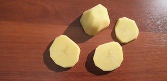Potato close up. Peeled potatoes stock photo