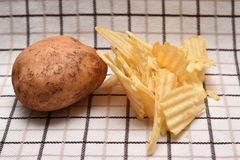 Potato and Cooked Chipss stock image