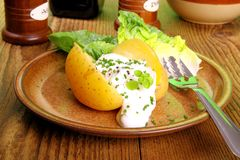 Potato with cottage cheese and salad Royalty Free Stock Image