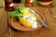 Potato with cottage cheese and salad Royalty Free Stock Photography