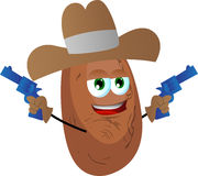 Potato cowboy with gun Royalty Free Stock Images