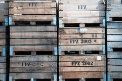 Potato crates. Brown stacked empty potato crates Royalty Free Stock Photo