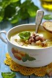Potato cream soup. Potato cream soup with caramelised onion and smoked bacon royalty free stock photo
