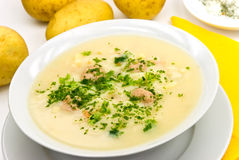 Potato cream soup with chopped meat balls Royalty Free Stock Images
