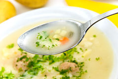 Potato cream soup with chopped meat balls Stock Image