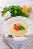 Potato cream soup with chorizo and garlic Stock Photography