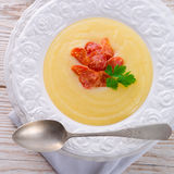 Potato cream soup with chorizo and garlic Royalty Free Stock Photos