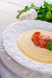 Potato cream soup with chorizo and garlic Royalty Free Stock Image