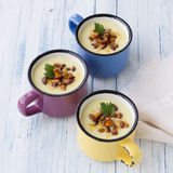 Potato cream soup with wild mushrooms Royalty Free Stock Photography