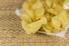 Potato crisp packet. Opened with crisps spilling out Royalty Free Stock Photos