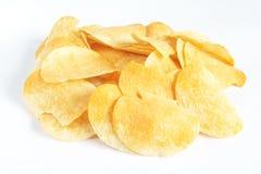 Potato Crisps. Salted potato crisps with white background royalty free stock photos