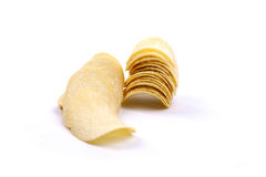 Potato crisps (chips) on a white background Royalty Free Stock Photo