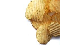 Potato crisps. Isolated on white royalty free stock photos