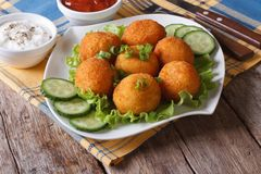 Potato croquettes with lettuce and cucumber horizontal Royalty Free Stock Photos