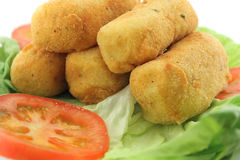 Potato croquettes and letucce Royalty Free Stock Photos