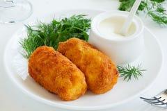 Potato croquettes with mozzarella Stock Images