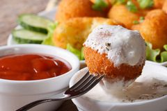 Potato croquettes with sour cream close-up in rustic style Stock Photography