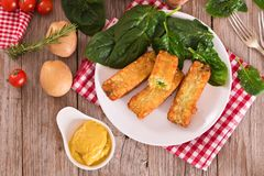 Potato croquettes with spinach and mozzarella. Potato croquettes with spinach and mozzarella on white dish royalty free stock photo