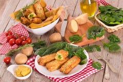 Potato croquettes with spinach and mozzarella. royalty free stock photos