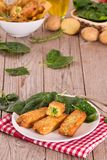 Potato croquettes with spinach and mozzarella. stock photo