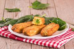 Potato croquettes with spinach and mozzarella. Potato croquettes with spinach and mozzarella on white dish stock photos