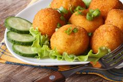 Potato croquettes and vegetables close-up. horizontal Stock Images