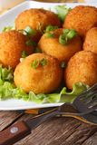 Potato croquettes and vegetables close-up. Vertical Stock Image