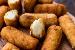 Potato croquettes & x28;croquetas& x29; cut out. Royalty Free Stock Photography