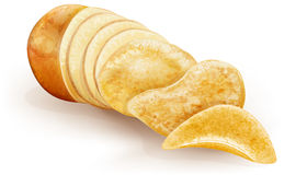 Potato cut and chips Stock Photos