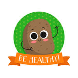 Potato, cute vegetable vector character badge Royalty Free Stock Images