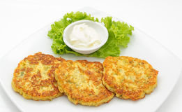 Potato cutlets with sour cream Royalty Free Stock Photography